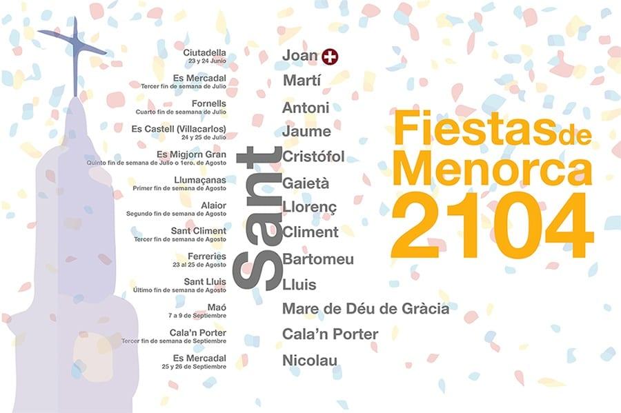 Cartel con las fechas de las fiestas de Menorca