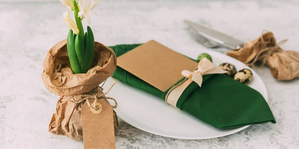 Table setting greenery