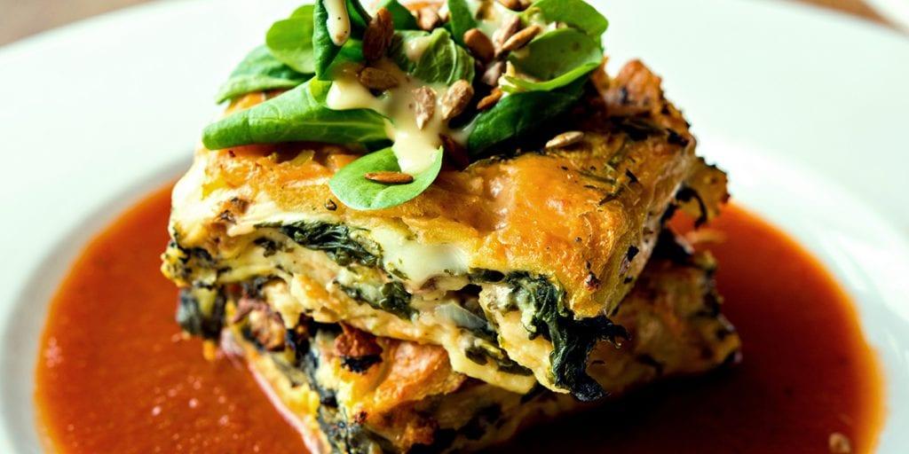 lasagna con queso mahon